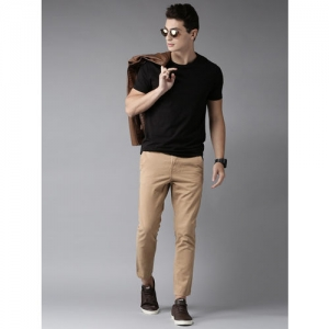 HERE&NOW Men Beige Slim Fit Solid Cropped Trousers