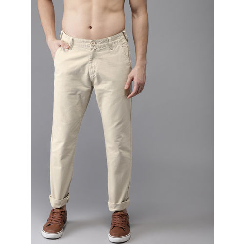 HERE&NOW Men Beige Slim Fit Solid Chinos Trousers