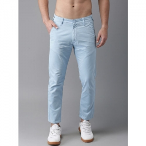 HERE&NOW Men Blue Cropped Slim Fit Solid Chinos