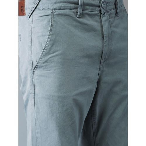 HERE&NOW Men Grey Slim Fit Solid Regular Trousers