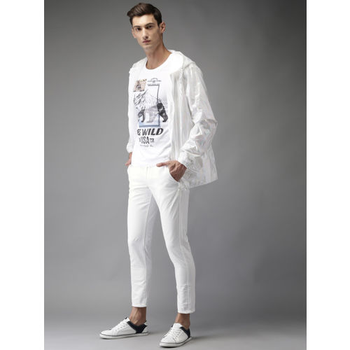 HERE&NOW Men White Slim Fit Solid Cropped Chinos
