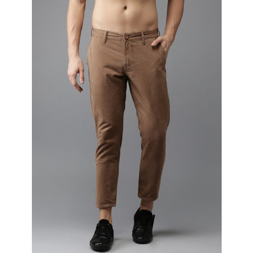 HERE&NOW Men Brown Slim Fit Solid Cropped Chinos