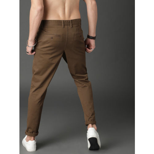 Roadster Men Brown Regular Fit Solid Chinos