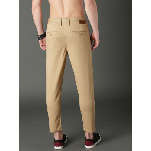 Roadster Men Beige Tapered Fit Solid Cropped Chinos