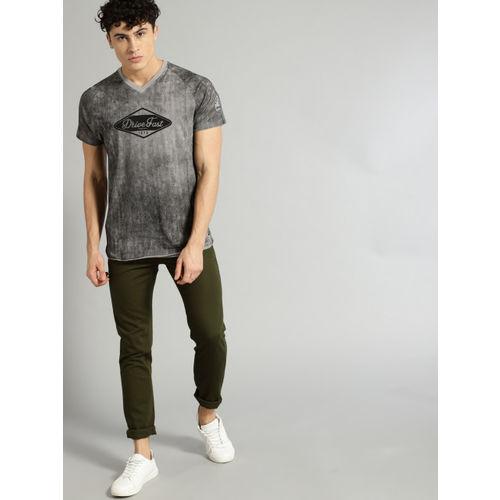 Roadster Men Olive Green Regular Fit Solid Regular Trousers