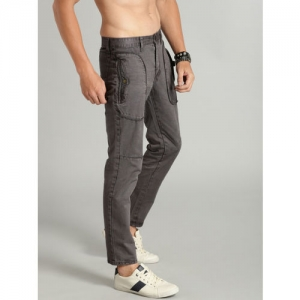 Roadster Men Charcoal Grey Regular Fit Solid Ankle-Length Trousers
