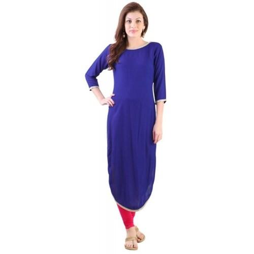 Buy Sukanyaa Blue Solid Rayon Apple Cut Women s Kurti online ... 3934cbec9