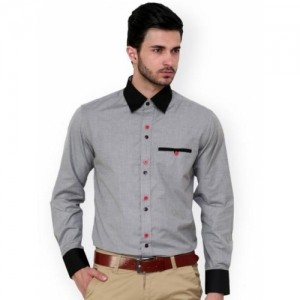 Dazzio Grey Solid Cotton Party Wear Shirt