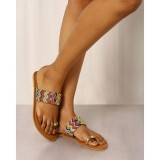 Indie Picks Brown Beaded Toe Ring Chappals