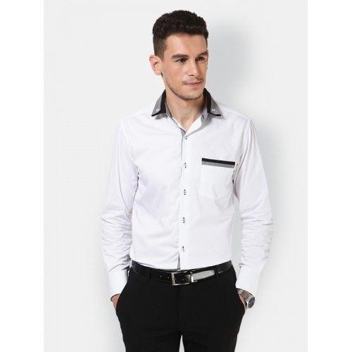 c73151b1533 Buy Dazzio White Solid Cotton Shirt For Men online