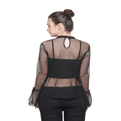 Plus S PlusS Black Embroidered Top