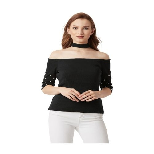 Miss Chase Black Textured Top