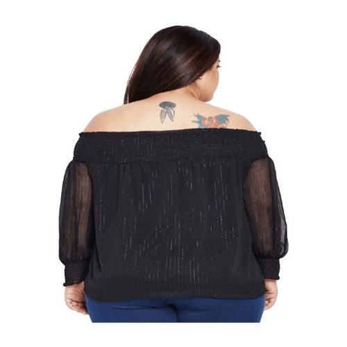 Oxolloxo Black Self Print Top