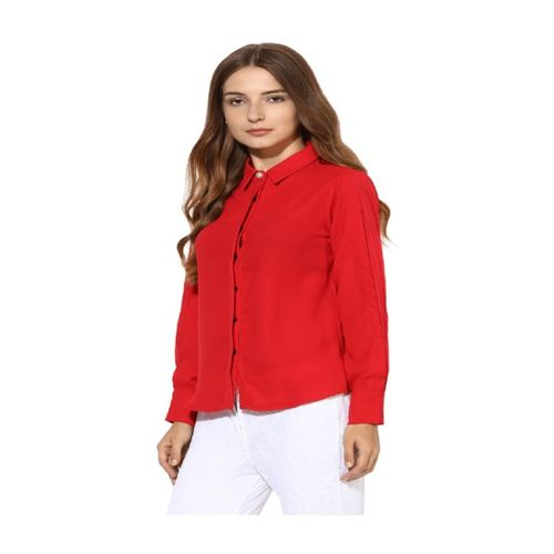 Soie Red Regular Fit Top