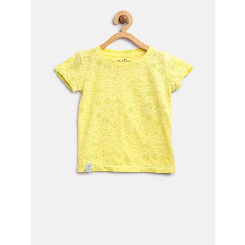 Palm Tree Boys Yellow & Green Printed Round Neck T-shirt