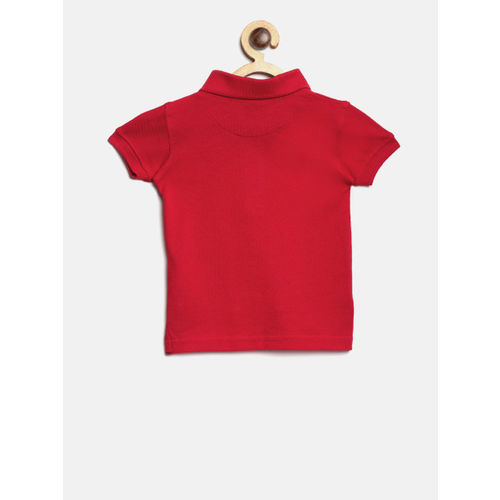 Palm Tree Boys Red Solid Polo Collar T-shirt
