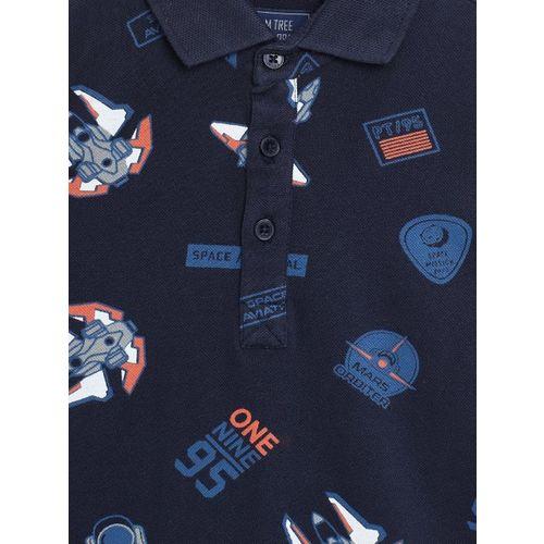 Palm Tree Boys Navy Blue Printed Polo Collar T-shirt