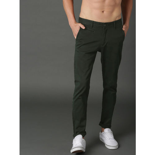 Roadster Men Green Slim Fit Solid Chinos