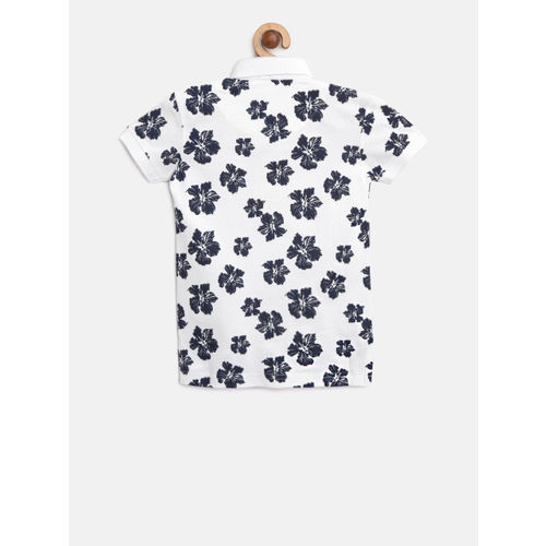 Palm Tree Boys White & Navy Floral Print Polo Collar T-shirt