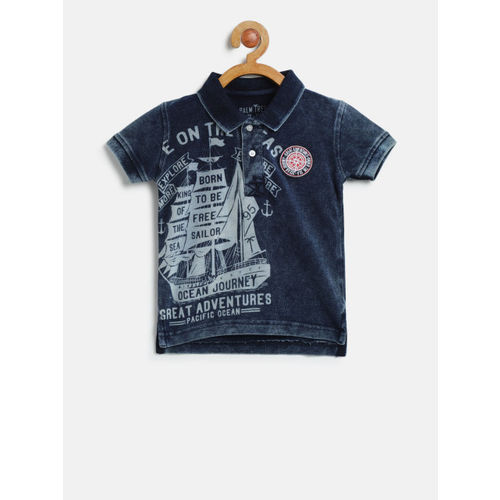 Palm Tree Boys Navy Blue Chambray Printed Polo Collar T-shirt