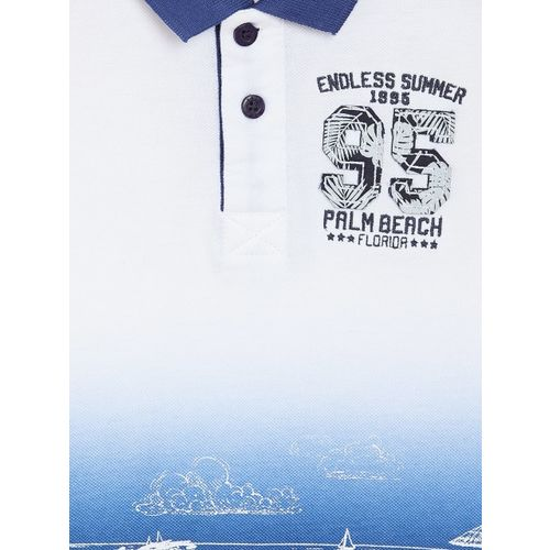 Palm Tree Boys White & Blue Printed Polo Collar T-shirt