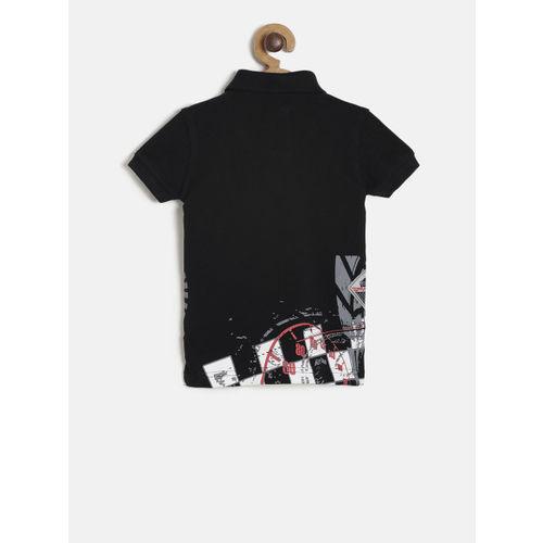Palm Tree Boys Black Printed Polo Collar T-shirt