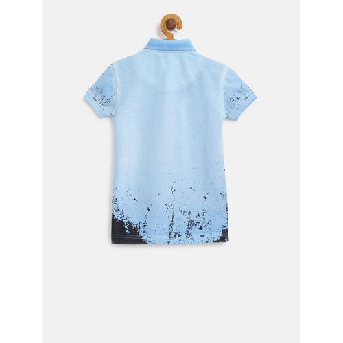 Palm Tree Boys Blue Printed Polo Collar T-shirt