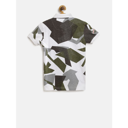 Palm Tree Boys White & Olive Green Printed Polo Collar T-shirt