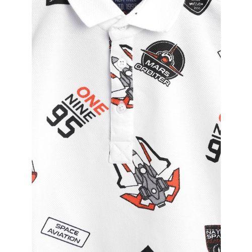 Palm Tree Boys White & Black Printed Polo Collar T-shirt