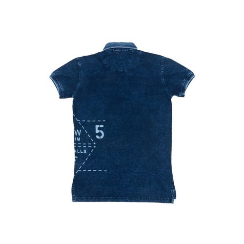 Palm Tree Boys Blue Printed Polo Collar T-shirt