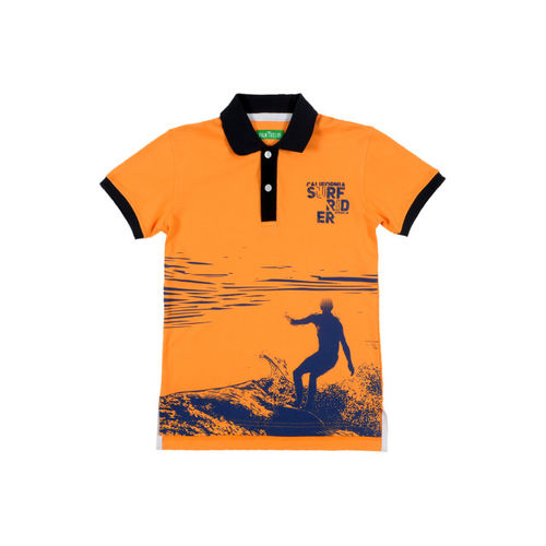 Palm Tree Boys Orange Printed Polo T-shirt