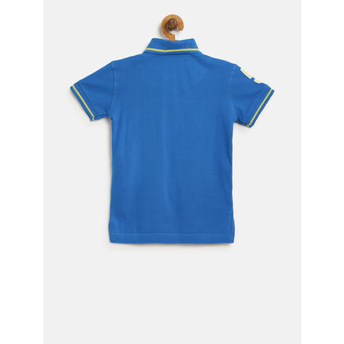 Palm Tree Boys Blue Solid Polo Collar T-shirt