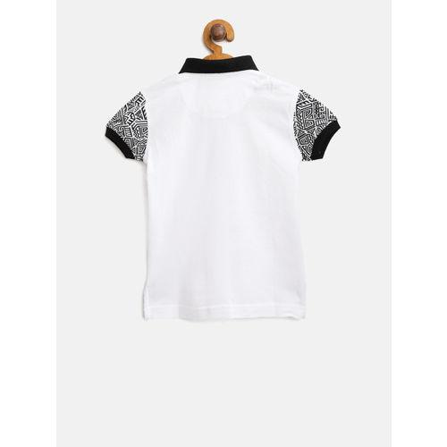 Palm Tree Boys White Solid Polo Collar T-shirt