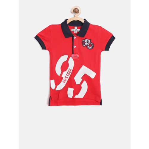 Palm Tree Boys Red Printed Polo Collar T-shirt