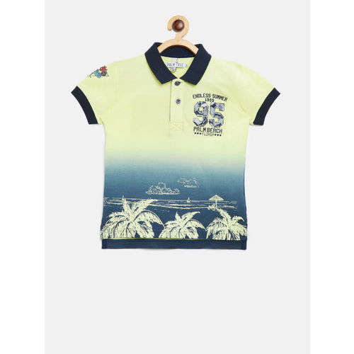 Palm Tree Boys Yellow Dyed Polo Collar T-shirt with Printed Detail