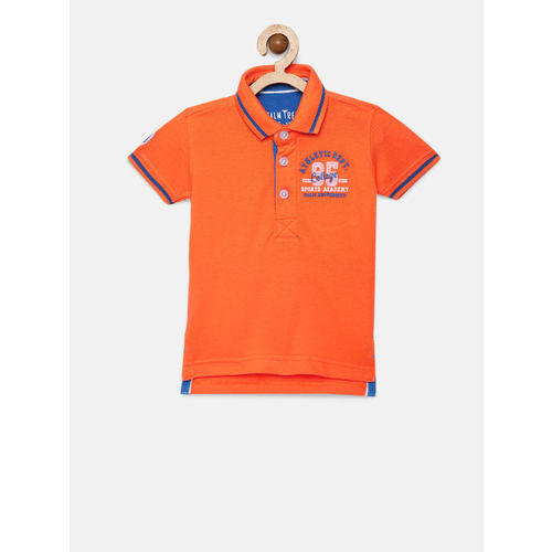 Palm Tree Boys Orange Solid Polo Collar T-shirt