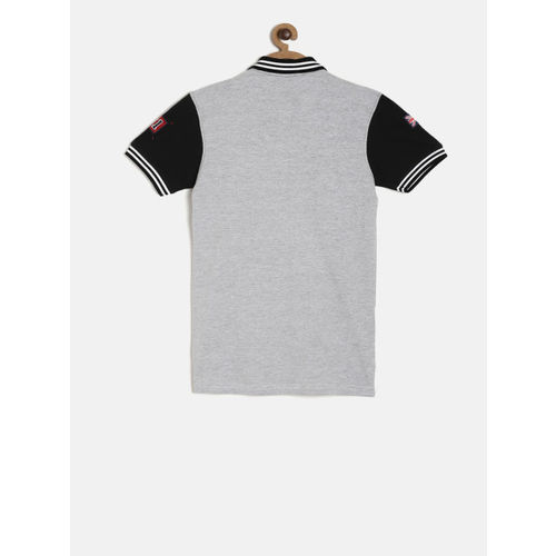 Palm Tree Boys Grey Colourblocked Polo Collar T-shirt