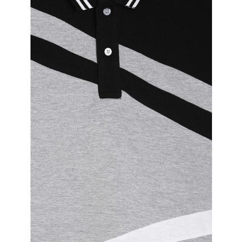 Palm Tree Boys Grey Colourblocked Polo Collar T-shirt