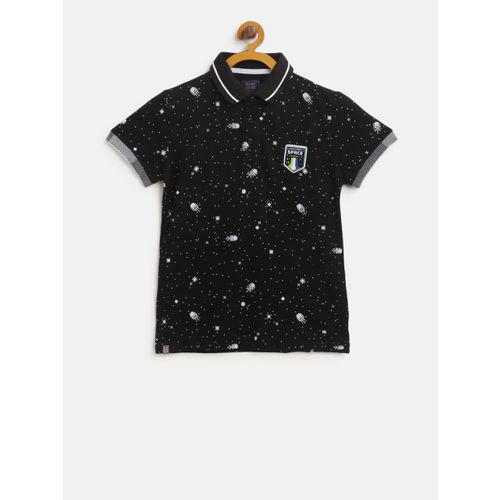 Palm Tree Boys Black & White Printed Polo Collar T-shirt