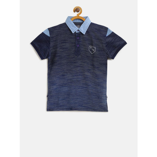 Palm Tree Boys Navy Blue Self Design Polo Collar T-shirt