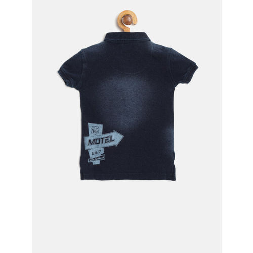 Palm Tree Boys Navy Blue Faded Polo Collar T-shirt