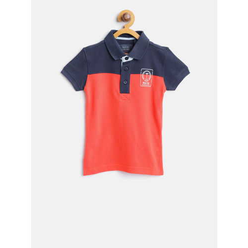 Palm Tree Boys Coral Red & Navy Blue Colourblocked Polo Collar T-shirt