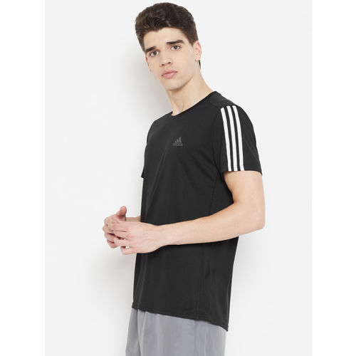 ADIDAS Men Black Solid Run 3S T-shirt