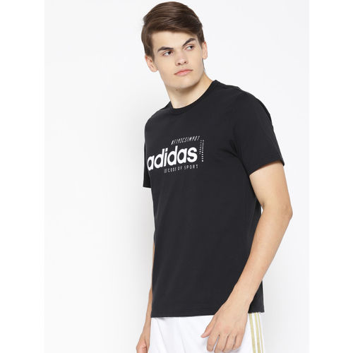 ADIDAS Men Black Printed Brilliant Basics T-shirt