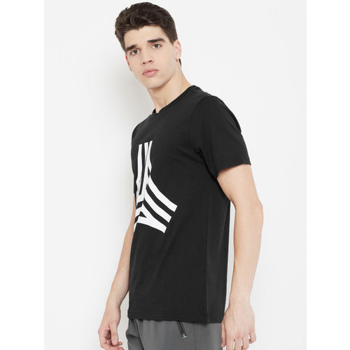 ADIDAS Men Black Printed Tan Graphic T-Shirt