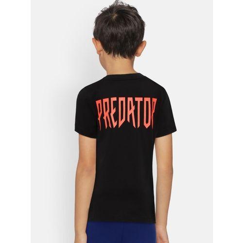 ADIDAS Boys Black Printed YB Predator Round Neck T-shirt