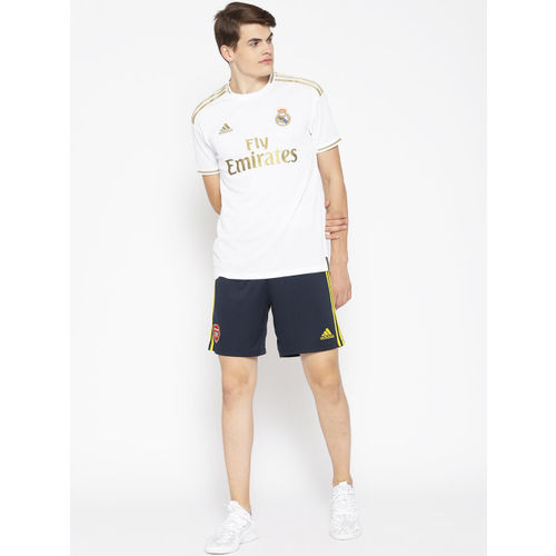 ADIDAS Men White & Golden Printed Real Madrid Home Football Jersey T-Shirt