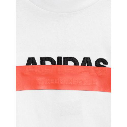 ADIDAS Boys White ID Lineage Round Neck T-shirt