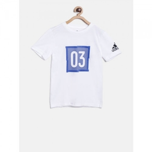 ADIDAS Boys White Printed Round Neck T-shirt