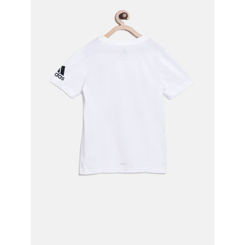 ADIDAS Boys White Printed Round Neck T-shirt